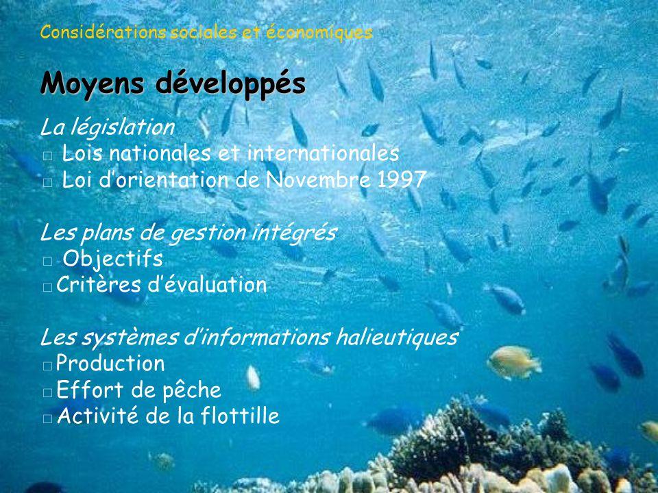 Considérations environnementales et biologiques Enjeux relatifs au milieu Préservation de la qualité du milieu Enjeux biologiques Préservation de la ressource Stock Potentiel de reproduction Préservation de la diversité biologique