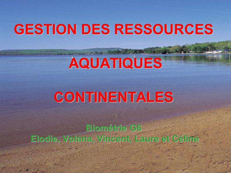 GESTION DES RESSOURCES AQUATIQUES CONTINENTALES Biométrie G6 Elodie, Volana, Vincent, Laure et Céline