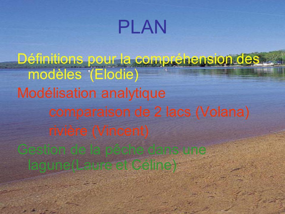 PLAN Définitions pour la compréhension des modèles (Elodie) Modélisation analytique comparaison de 2 lacs (Volana) rivière (Vincent) Gestion de la pêche dans une lagune(Laure et Céline)