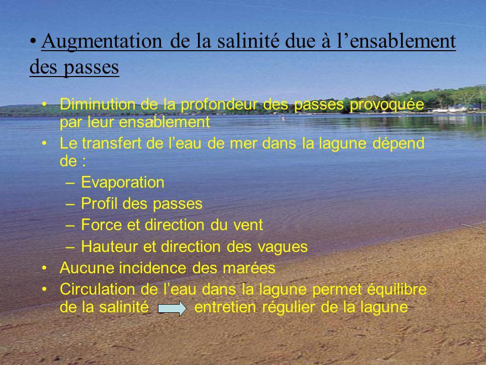 Diminution de la profondeur des passes provoquée par leur ensablement Le transfert de leau de mer dans la lagune dépend de : –Evaporation –Profil des