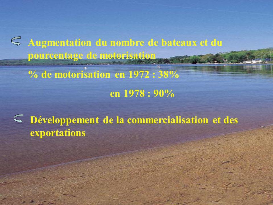 Augmentation du nombre de bateaux et du pourcentage de motorisation % de motorisation en 1972 : 38% en 1978 : 90% Développement de la commercialisation et des exportations