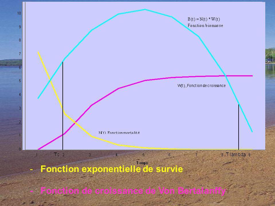 - Fonction exponentielle de survie - Fonction de croissance de Von Bertalanffy