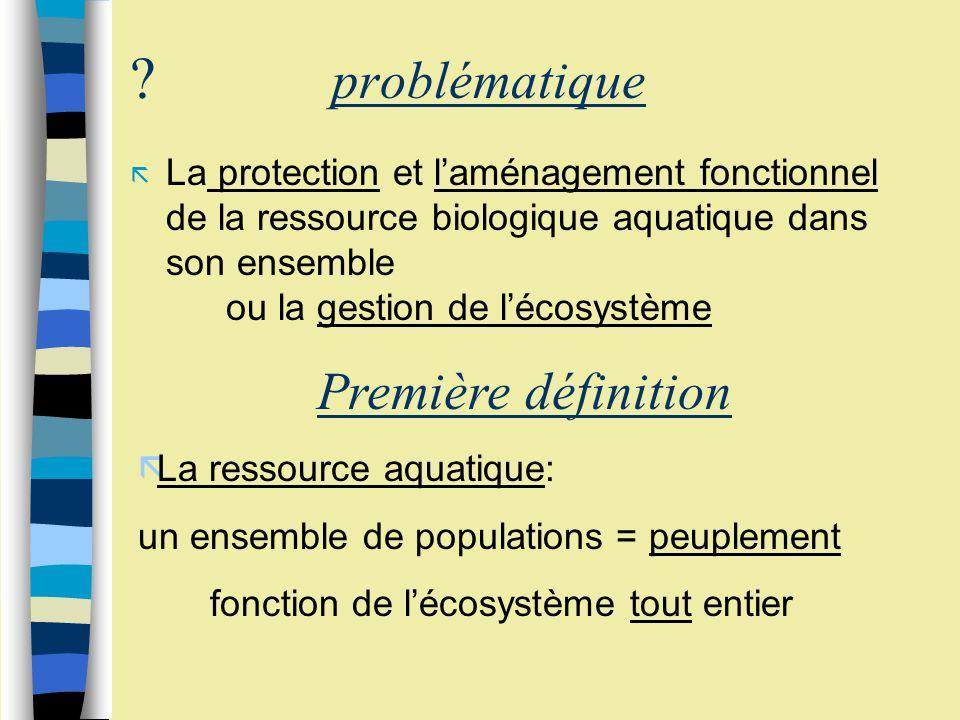 ? problématique ã La protection et laménagement fonctionnel de la ressource biologique aquatique dans son ensemble ou la gestion de lécosystème Première définition ãLa ressource aquatique: un ensemble de populations = peuplement fonction de lécosystème tout entier