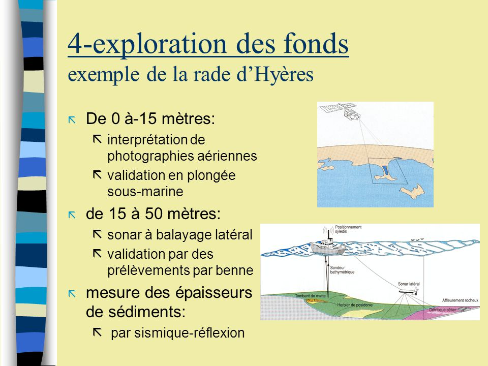 Ex: la rade dHyères extrait cartograhie de lherbier de Posidonie et des fonds marins environnants de Toulon à Hyères
