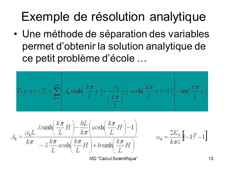 MD Calcul Scientifique 10 Exemple de résolution analytique Une méthode de séparation des variables permet dobtenir la solution analytique de ce petit problème décole …
