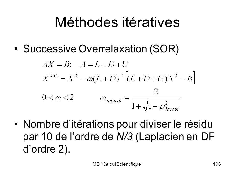 MD Calcul Scientifique 106 Méthodes itératives Successive Overrelaxation (SOR) Nombre ditérations pour diviser le résidu par 10 de lordre de N/3 (Laplacien en DF dordre 2).