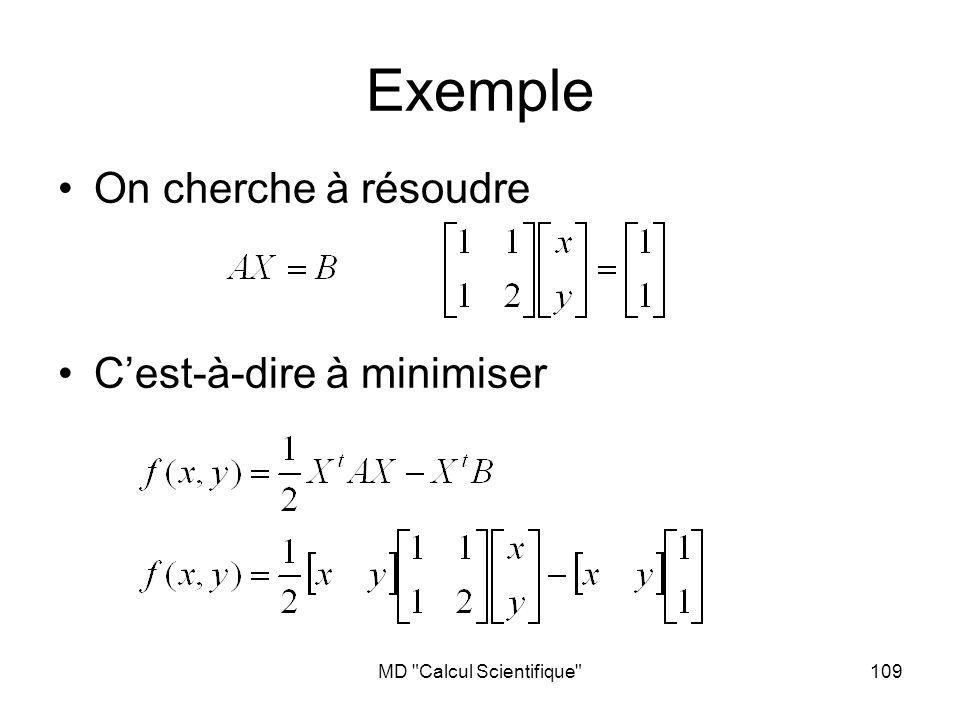 MD Calcul Scientifique 109 Exemple On cherche à résoudre Cest-à-dire à minimiser