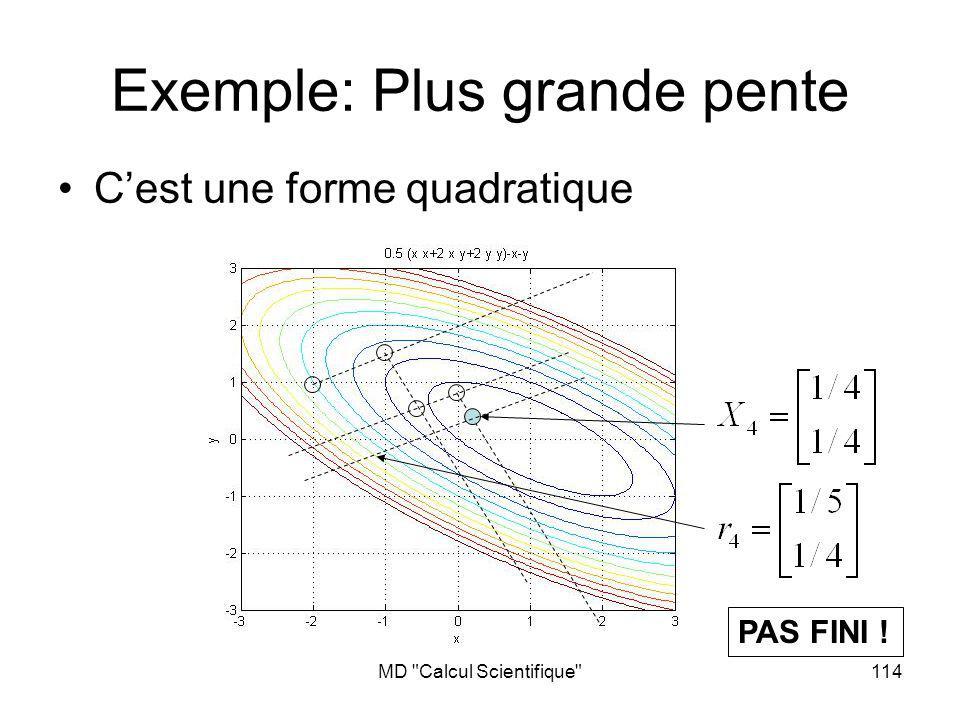 MD Calcul Scientifique 114 Exemple: Plus grande pente Cest une forme quadratique PAS FINI !