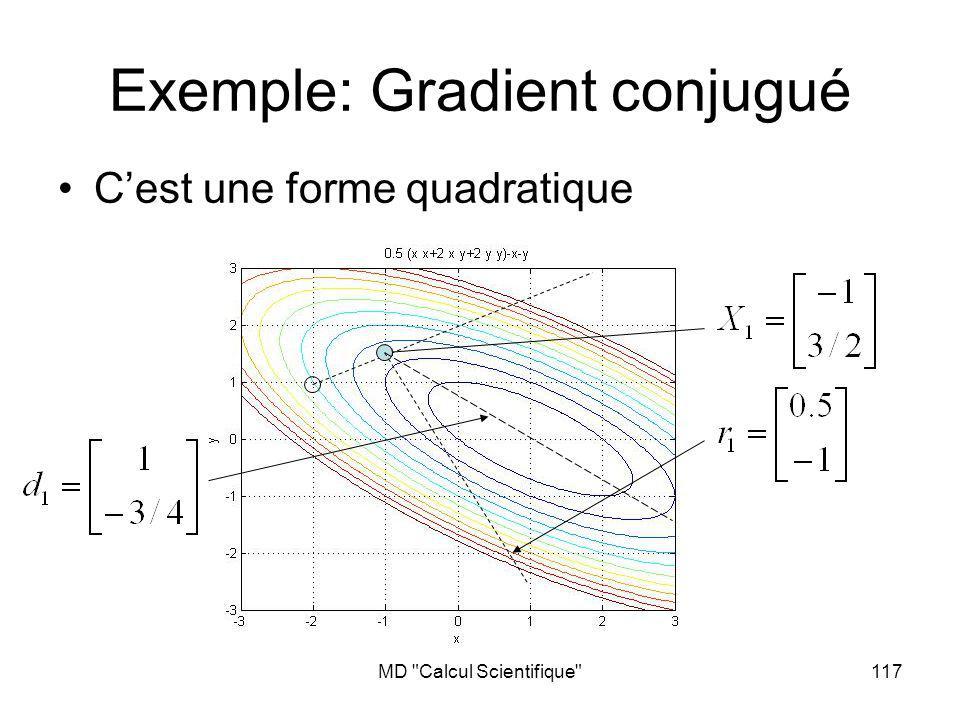 MD Calcul Scientifique 117 Exemple: Gradient conjugué Cest une forme quadratique