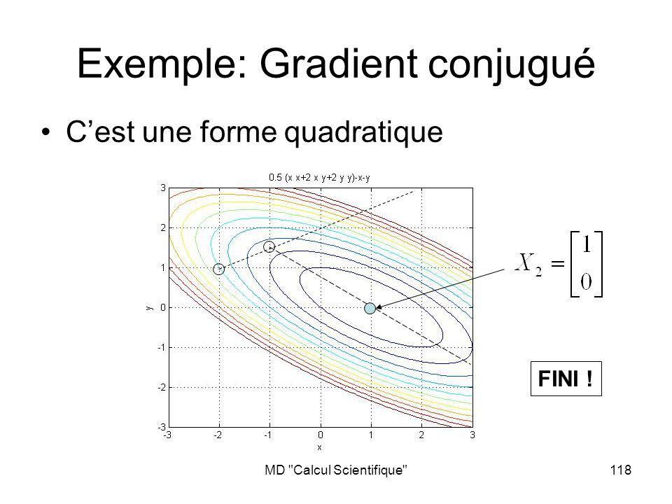 MD Calcul Scientifique 119 Gradient conjugué On montre que: Puisquil existe au plus N vecteurs orthogonaux dans un EV de dimension N, lalgorithme converge au plus en N itérations Ne nécessite que des produits matrice- vecteur ou produits scalaires