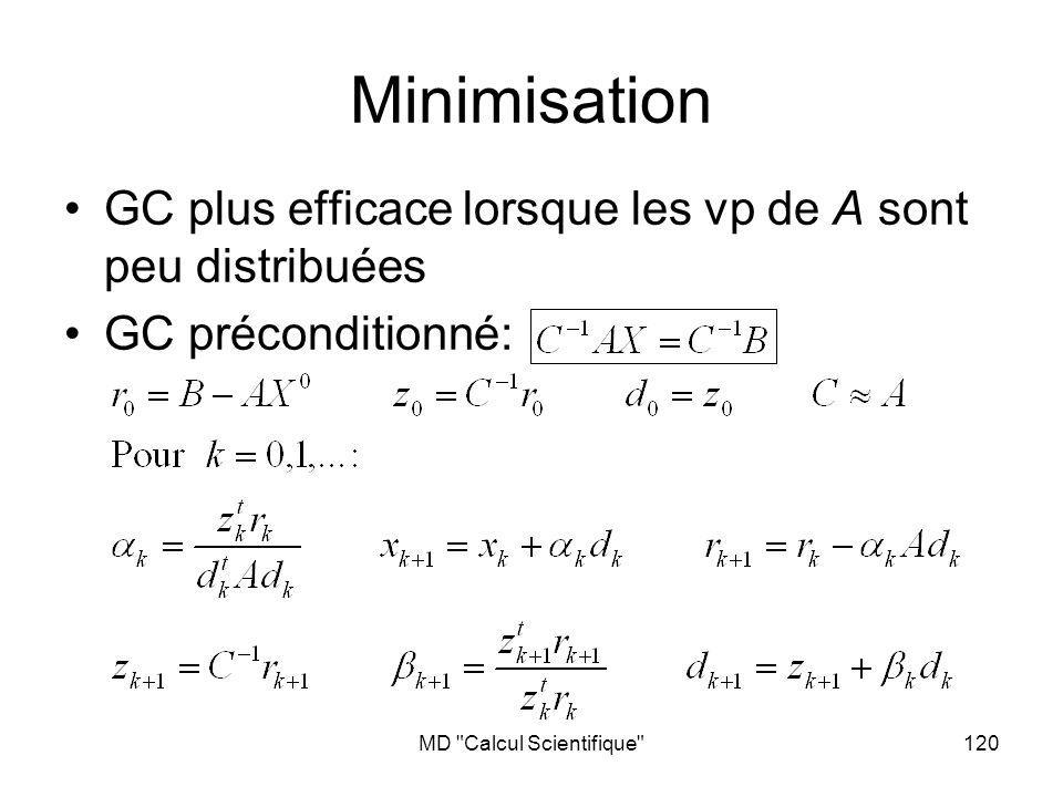 MD Calcul Scientifique 121 Cas non-symétrique A t A est toujours symétrique définie positive … Mais le conditionnement de A t A X= A t B est (A) 2 Generalized Minimum Residual: GMRES (www.cerfacs.fr) Trouver une approximation de la solution de AX=B sous la forme X m =X 0 +V m Y V m : base orthogonale de lespace de Krylov Vect{r 0,Ar 0, A 2 r 0,…,A m-1 r 0 }, r 0 =B-AX 0