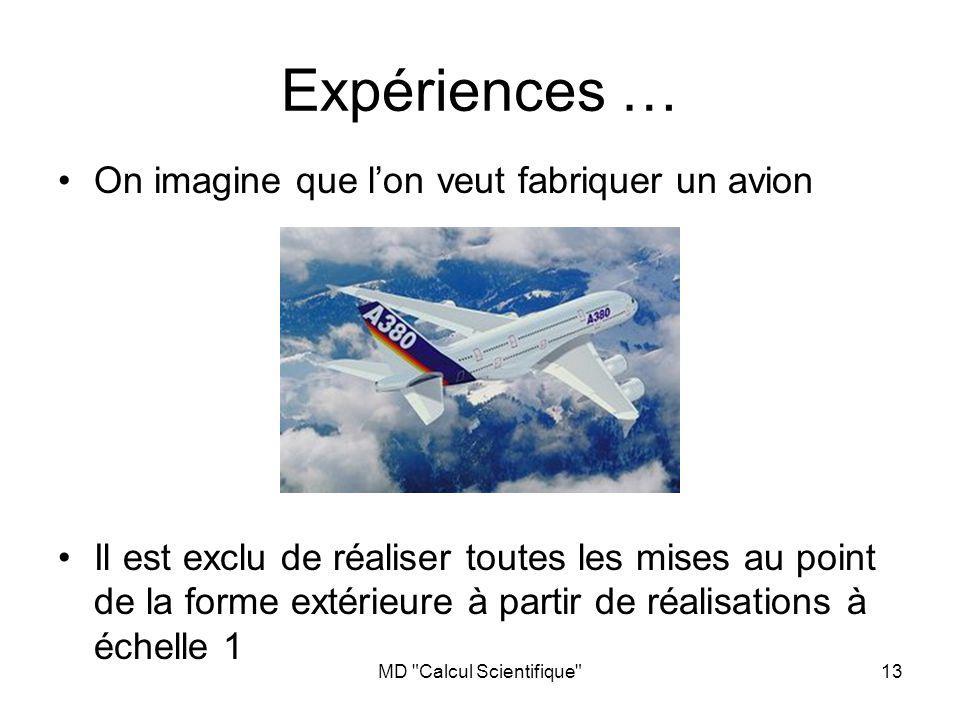 MD Calcul Scientifique 13 Expériences … On imagine que lon veut fabriquer un avion Il est exclu de réaliser toutes les mises au point de la forme extérieure à partir de réalisations à échelle 1
