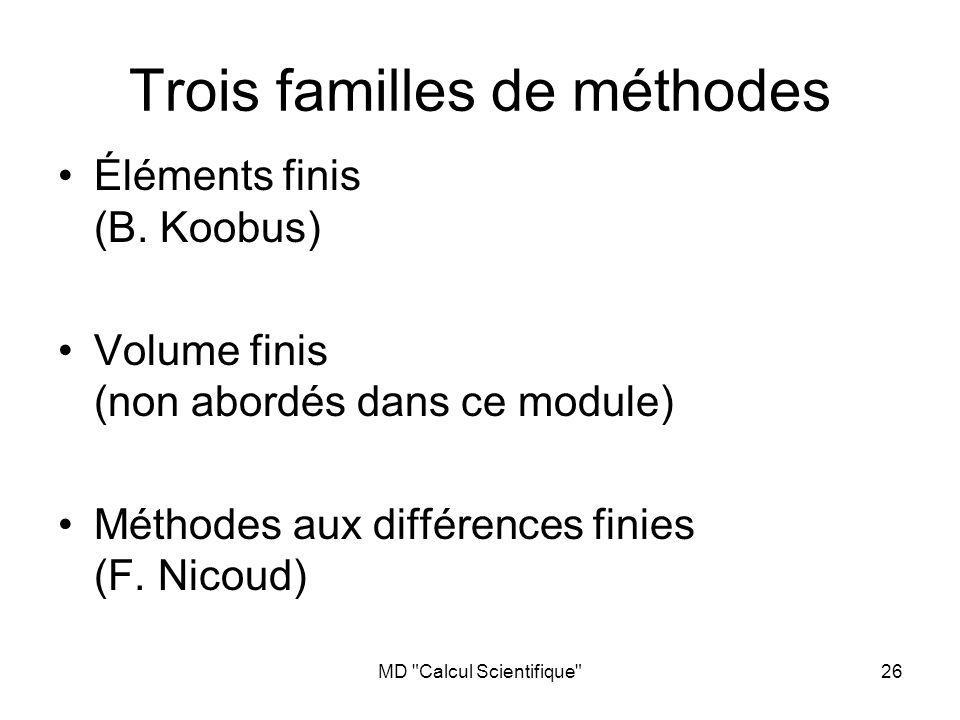 MD Calcul Scientifique 26 Trois familles de méthodes Éléments finis (B.