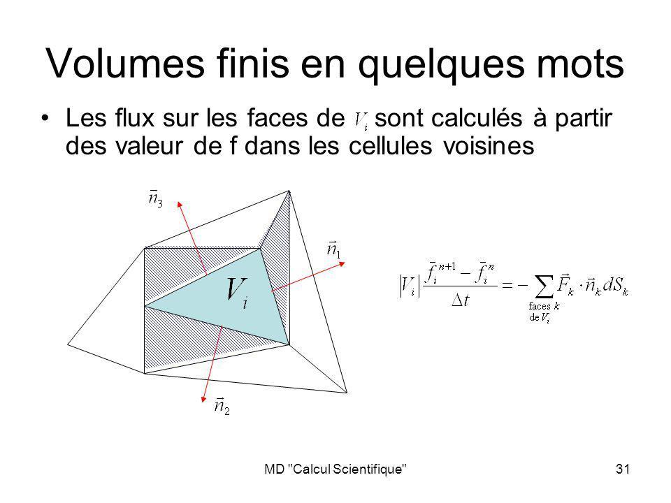 MD Calcul Scientifique 31 Volumes finis en quelques mots Les flux sur les faces de sont calculés à partir des valeur de f dans les cellules voisines