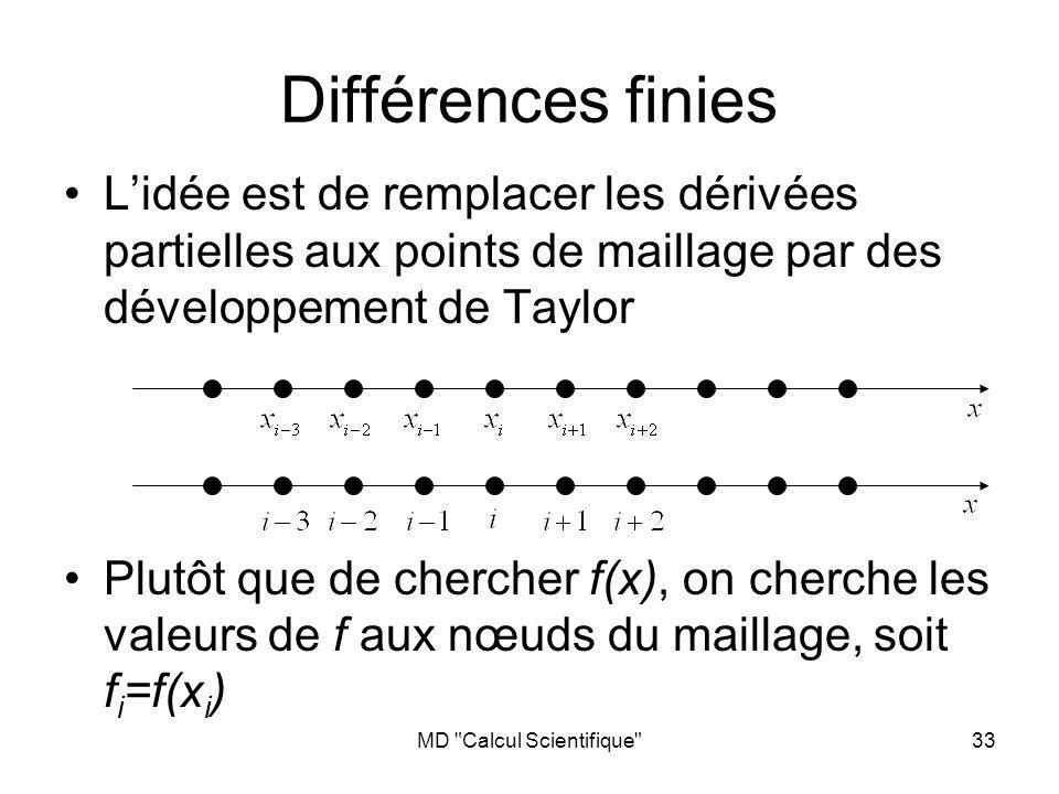 MD Calcul Scientifique 33 Différences finies Lidée est de remplacer les dérivées partielles aux points de maillage par des développement de Taylor Plutôt que de chercher f(x), on cherche les valeurs de f aux nœuds du maillage, soit f i =f(x i )