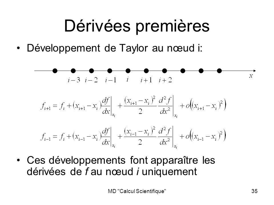 MD Calcul Scientifique 35 Dérivées premières Développement de Taylor au nœud i: Ces développements font apparaître les dérivées de f au nœud i uniquement