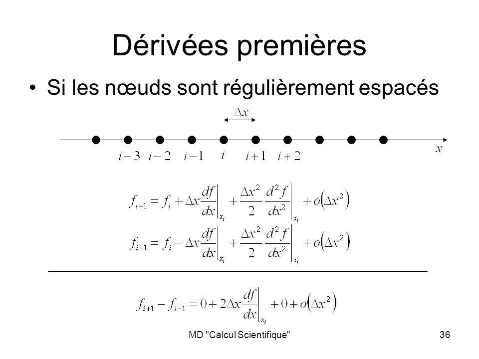 MD Calcul Scientifique 36 Si les nœuds sont régulièrement espacés Dérivées premières