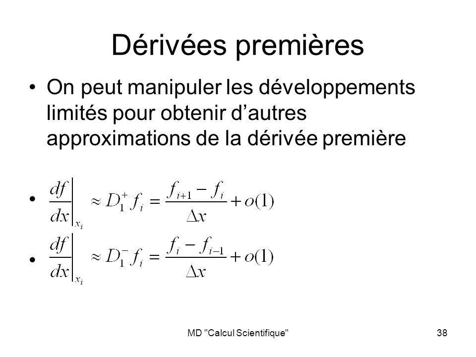 MD Calcul Scientifique 38 On peut manipuler les développements limités pour obtenir dautres approximations de la dérivée première Dérivées premières