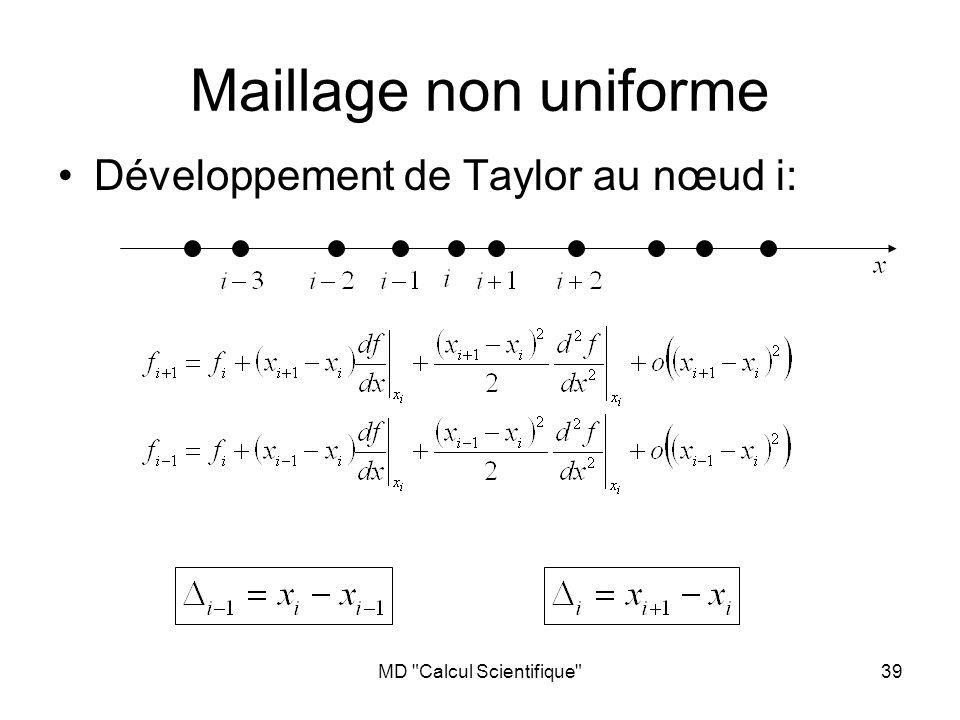 MD Calcul Scientifique 39 Maillage non uniforme Développement de Taylor au nœud i: