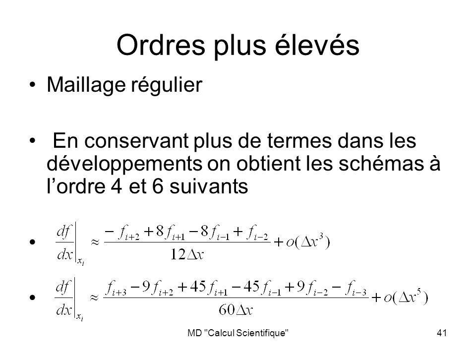 MD Calcul Scientifique 41 Maillage régulier En conservant plus de termes dans les développements on obtient les schémas à lordre 4 et 6 suivants Ordres plus élevés