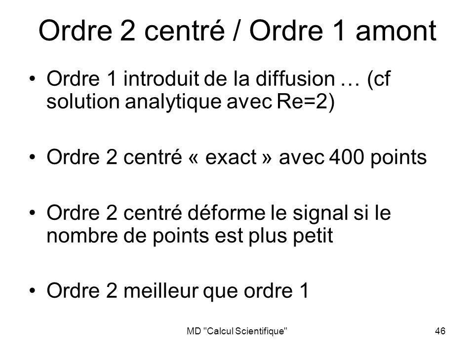 MD Calcul Scientifique 46 Ordre 2 centré / Ordre 1 amont Ordre 1 introduit de la diffusion … (cf solution analytique avec Re=2) Ordre 2 centré « exact » avec 400 points Ordre 2 centré déforme le signal si le nombre de points est plus petit Ordre 2 meilleur que ordre 1