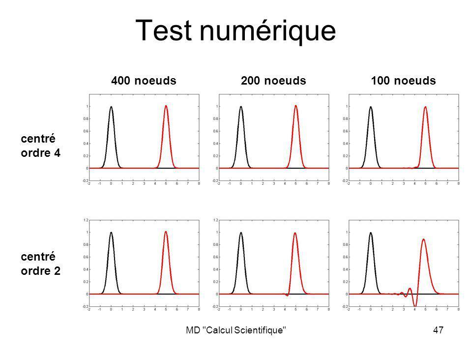 MD Calcul Scientifique 47 Test numérique centré ordre 4 centré ordre 2 400 noeuds200 noeuds100 noeuds