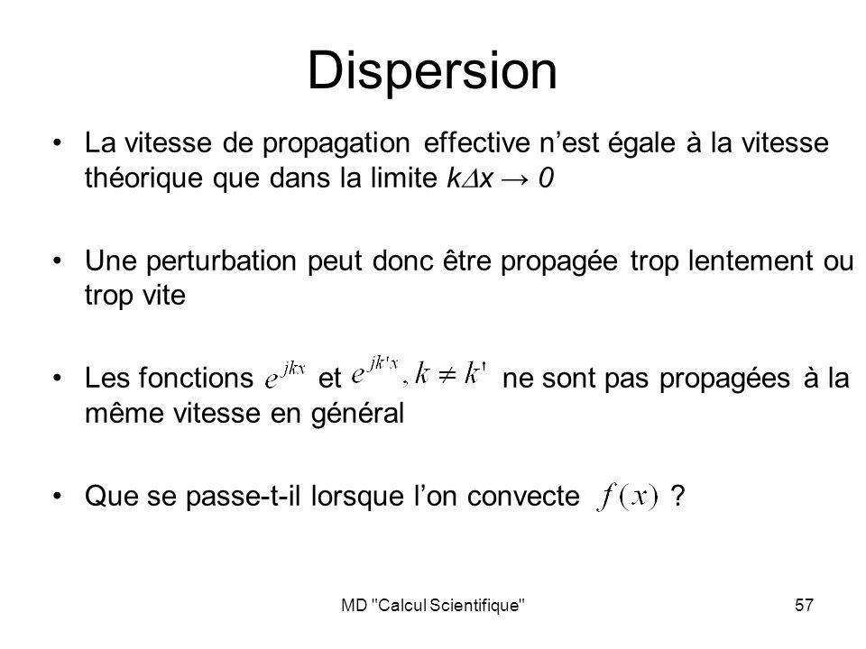 MD Calcul Scientifique 57 Dispersion La vitesse de propagation effective nest égale à la vitesse théorique que dans la limite k x 0 Une perturbation peut donc être propagée trop lentement ou trop vite Les fonctions et ne sont pas propagées à la même vitesse en général Que se passe-t-il lorsque lon convecte ?