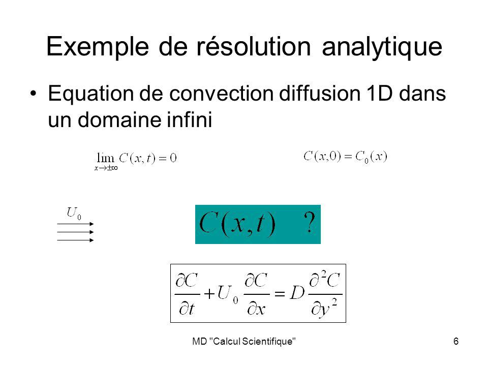 MD Calcul Scientifique 7 Exemple de résolution analytique Si la concentration est initialement de la forme on peut obtenir la solution analytique …