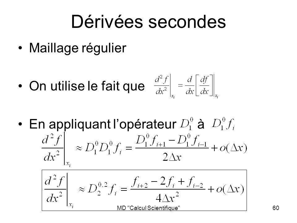 MD Calcul Scientifique 61 Si les nœuds sont régulièrement espacés Problème de localité La dérivée seconde approximée de cette fonction est nulle !!