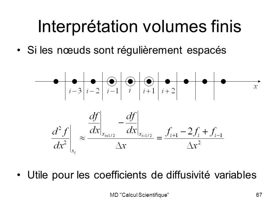 MD Calcul Scientifique 67 Si les nœuds sont régulièrement espacés Utile pour les coefficients de diffusivité variables Interprétation volumes finis