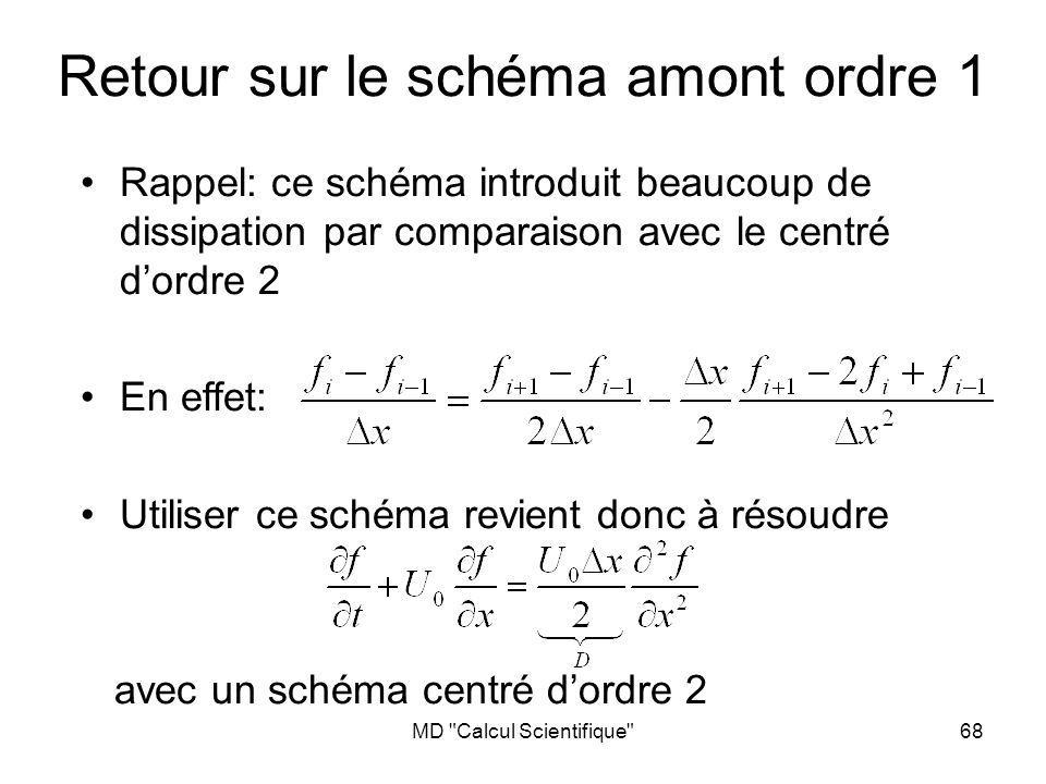 MD Calcul Scientifique 68 Retour sur le schéma amont ordre 1 Rappel: ce schéma introduit beaucoup de dissipation par comparaison avec le centré dordre 2 En effet: Utiliser ce schéma revient donc à résoudre avec un schéma centré dordre 2