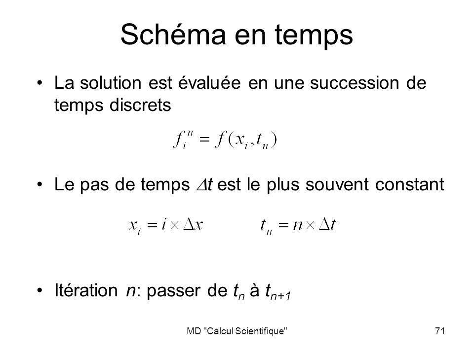 MD Calcul Scientifique 72 Schémas en temps classiques Même démarche que pour les dérivées en espace: développements de Taylor en temps Euler explicite: Euler implicite: