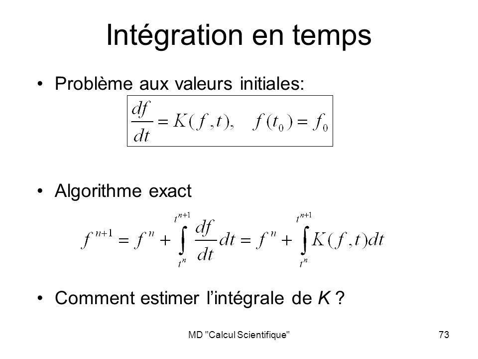MD Calcul Scientifique 73 Intégration en temps Problème aux valeurs initiales: Algorithme exact Comment estimer lintégrale de K ?