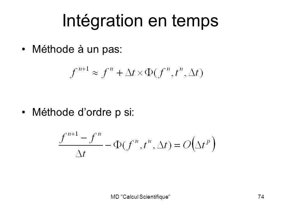MD Calcul Scientifique 74 Intégration en temps Méthode à un pas: Méthode dordre p si:
