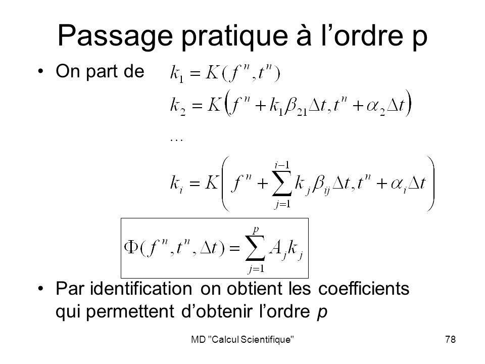 MD Calcul Scientifique 78 Passage pratique à lordre p On part de Par identification on obtient les coefficients qui permettent dobtenir lordre p