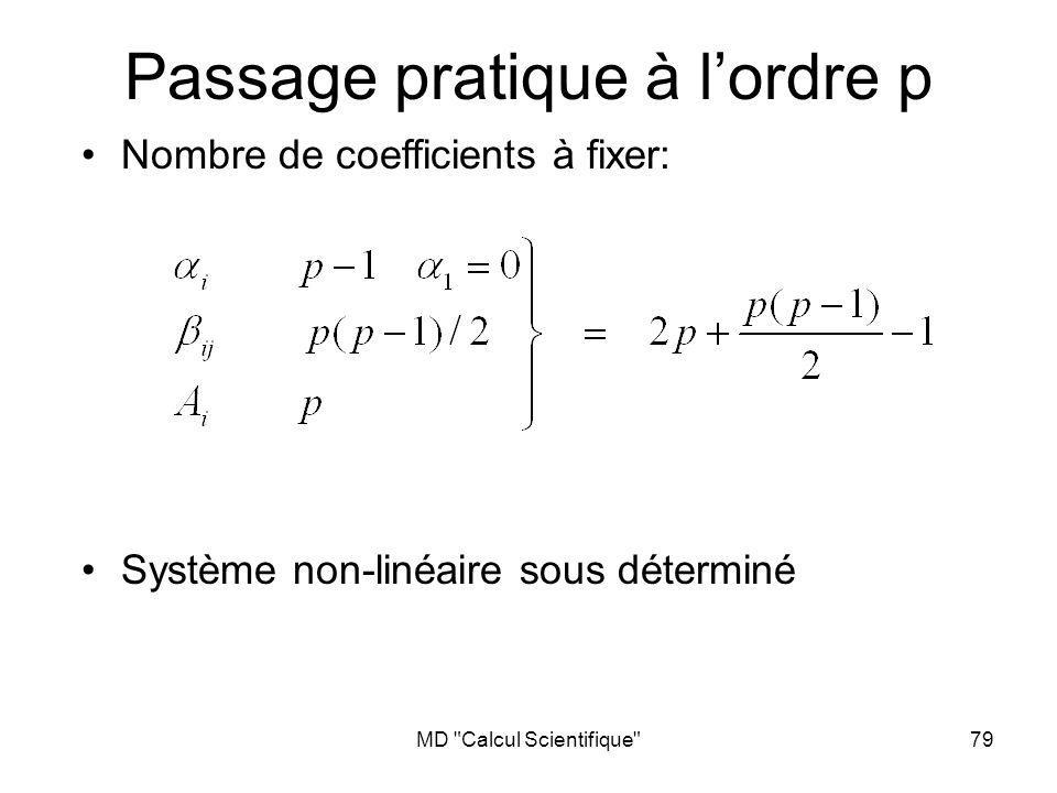 MD Calcul Scientifique 79 Passage pratique à lordre p Nombre de coefficients à fixer: Système non-linéaire sous déterminé