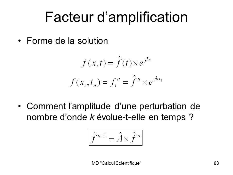 MD Calcul Scientifique 83 Facteur damplification Forme de la solution Comment lamplitude dune perturbation de nombre donde k évolue-t-elle en temps ?