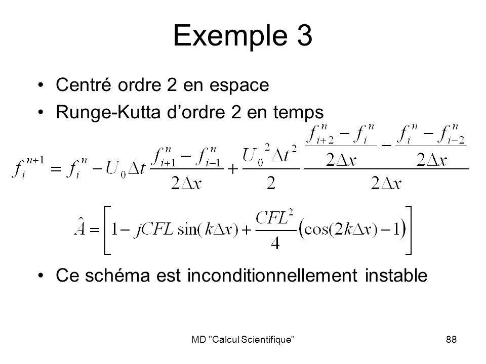 MD Calcul Scientifique 89 Exemple 3 - suite Centré ordre 2 en espace Runge-Kutta dordre 2 en temps Ce schéma est inconditionnellement instable