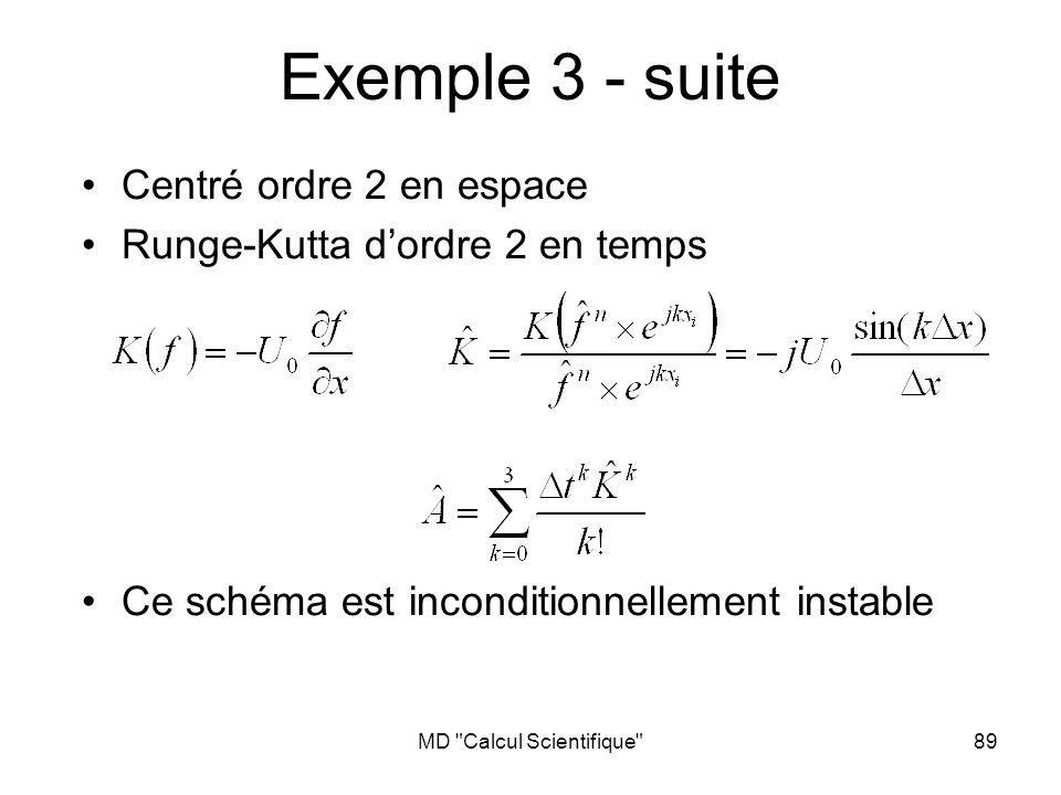 MD Calcul Scientifique 90 Exemple 4 Centré ordre 2 en espace Runge-Kutta dordre 3 en temps Ce schéma est conditionnellement stable