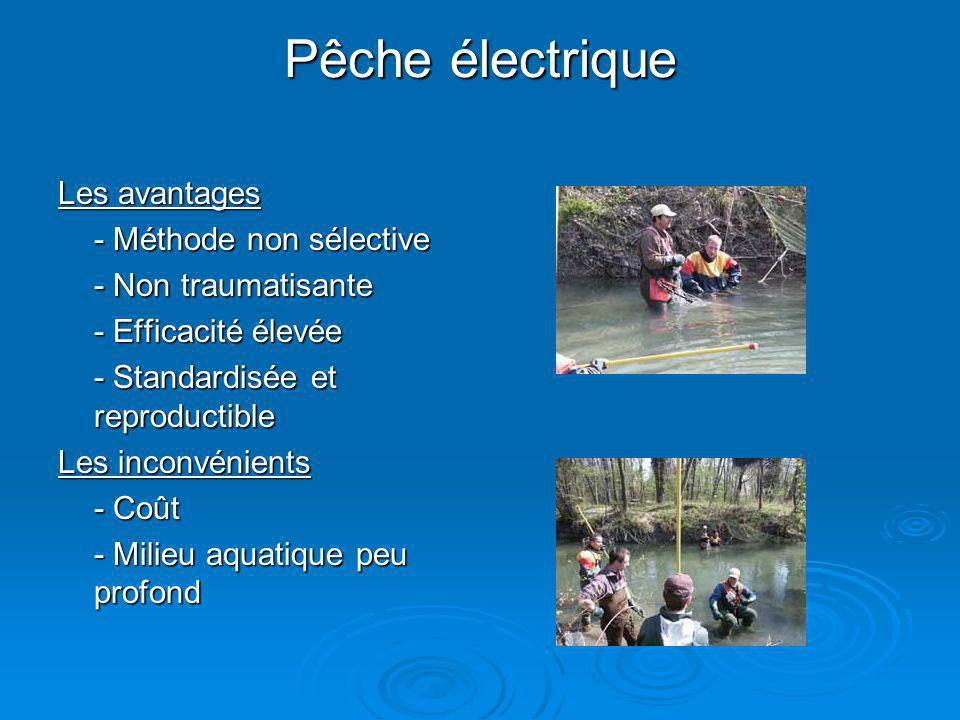 Pêche électrique Les avantages - Méthode non sélective - Non traumatisante - Efficacité élevée - Standardisée et reproductible Les inconvénients - Coû