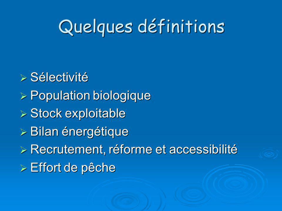Quelques définitions Sélectivité Sélectivité Population biologique Population biologique Stock exploitable Stock exploitable Bilan énergétique Bilan é