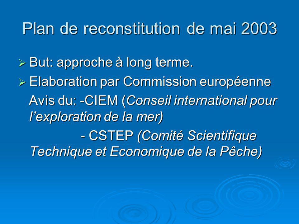 Plan de reconstitution de mai 2003 But: approche à long terme. But: approche à long terme. Elaboration par Commission européenne Elaboration par Commi