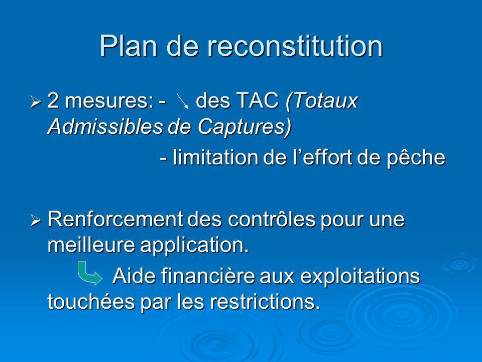 Plan de reconstitution 2 mesures: - des TAC (Totaux Admissibles de Captures) 2 mesures: - des TAC (Totaux Admissibles de Captures) - limitation de lef