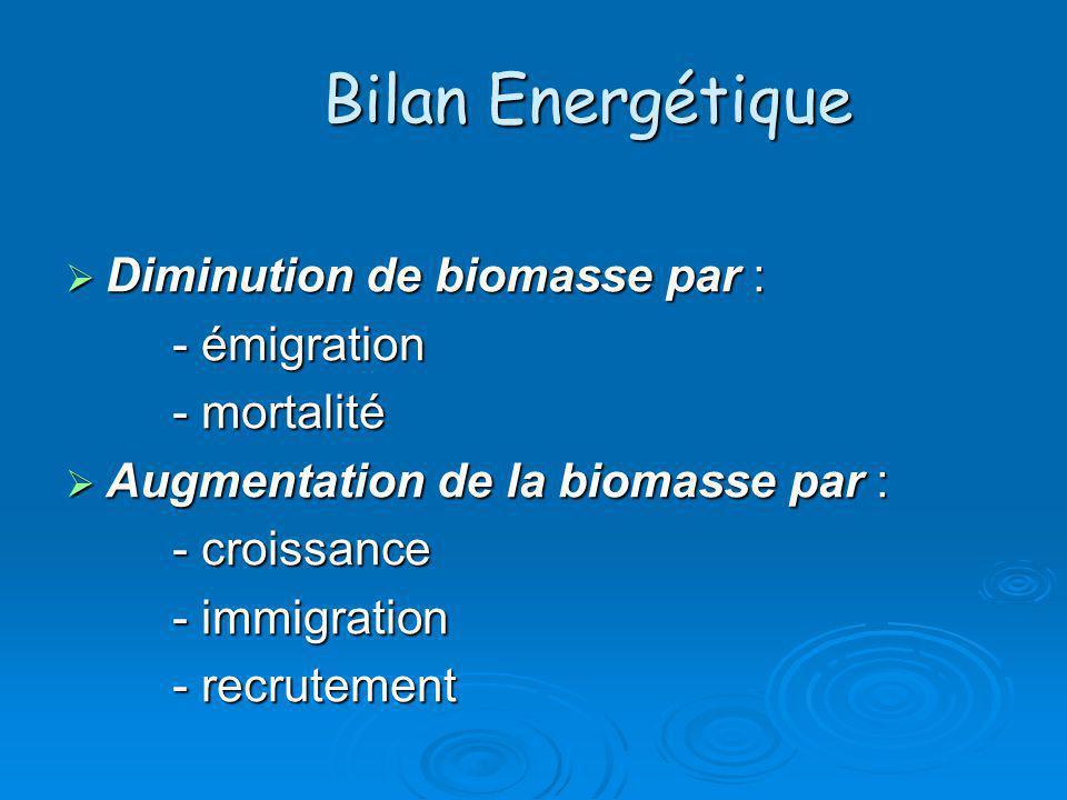 Bilan Energétique Diminution de biomasse par : Diminution de biomasse par : - émigration - mortalité Augmentation de la biomasse par : Augmentation de