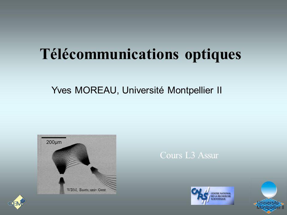 Montpellier II Université Télécommunications optiques Yves MOREAU, Université Montpellier II WDM, Baets, univ.Gent Cours L3 Assur