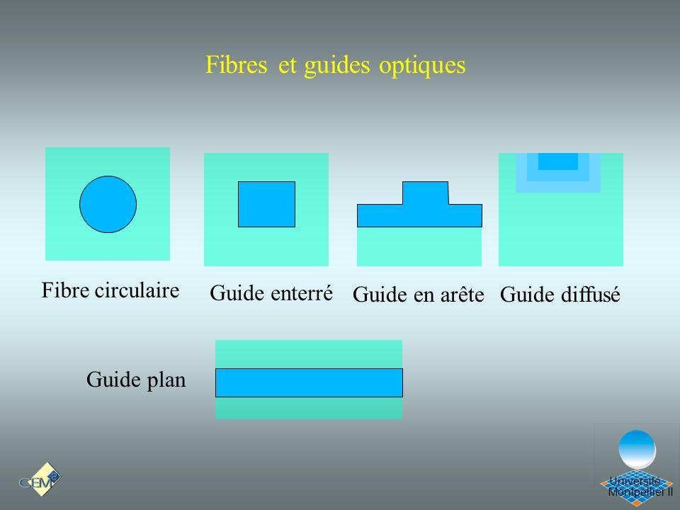Montpellier II Université Fibres et guides optiques Fibre circulaire Guide en arêteGuide diffusé Guide enterré Guide plan