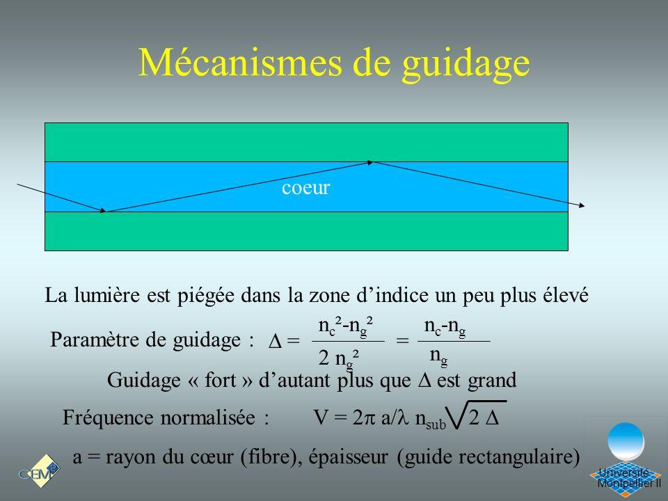 Montpellier II Université coeur La lumière est piégée dans la zone dindice un peu plus élevé Paramètre de guidage : n c ²-n g ² 2 n g ² = = n c -n g n
