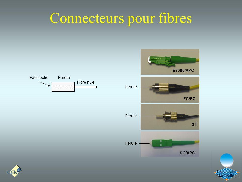 Montpellier II Université Connecteurs pour fibres FC/PC E2000/APC ST SC/APC Férule Fibre nue FéruleFace polie