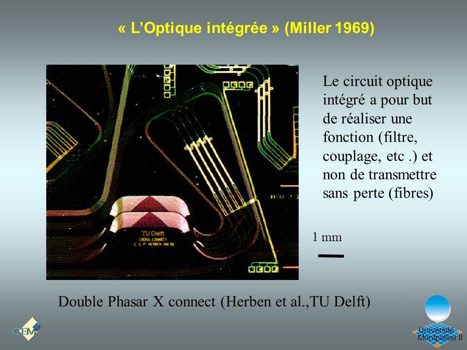 Montpellier II Université Double Phasar X connect (Herben et al.,TU Delft) 1 mm « LOptique intégrée » (Miller 1969) Le circuit optique intégré a pour