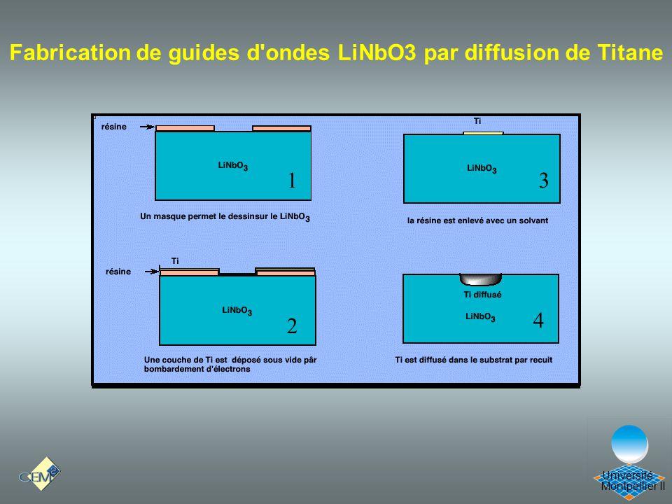 Montpellier II Université Fabrication de guides d'ondes LiNbO3 par diffusion de Titane 1 2 3 4